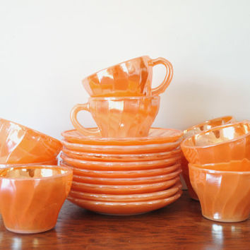Vintage Peach Luster Demitasse Cups and Saucers, Fire King Anchor Hocking, Milk Glass Teacups, Shell or Swirl Pattern