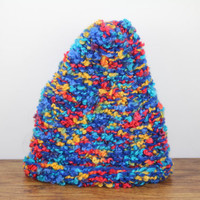 Toddler Beanie. Knit Child Hat. Rainbow Gnome Beanie. Gnome Hat. Handmade. One of a Kind. OOAK. Winter Hat. Neutral Child Gift.