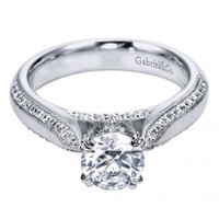 18K White Gold Contemporary Engagement Ring Wedding Day Diamonds