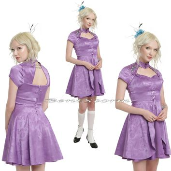 Licensed cool LE Disney Alice Through Looking Glass Adventure Purple Satin Fit & Flare Dress