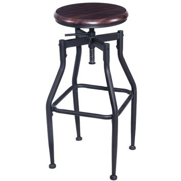 Giantex New Vintage Bar Stool Metal Design Wood Top Height Adjustable Swivel Bar Chair Industrial Style Bar Furniture HW52162