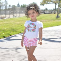 Gold Two In Wreath Pink Shorts Outfit