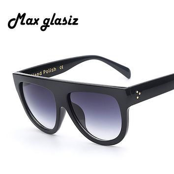 2016 New Italy Brand Designer Fashion Women Sunglasses Oversize Female Flat Top Vintage Sun Glasses Eyewear Oculos de sol