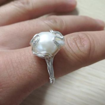 Handmade Silver color Copper Wire Wrapped Natural Fresh Water Pearl Baroque Beads Rings Fashion Woman Jewelry