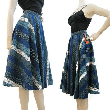 50s Skirt Vintage Catalina Cotton Batik Stripe Blue Gaucho Skort Sportswear S M NOS with tags