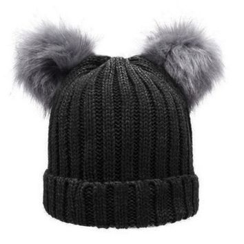 Women Winter Woolen Knitted Caps Faux Fur Double Pompon Plush Balls Beanie Hat Girls Knitting Beanies Ski Cap Beanies Gorros