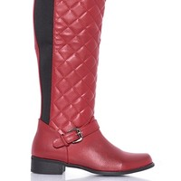 French Blu Waffelino Quilted Boots - Red from French Blu at ShopRoxx.com