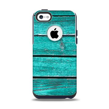 The Trendy Green Washed Wood Planks Apple iPhone 5c Otterbox Commuter Case Skin Set
