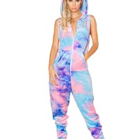 Tie-Dye Crushed Velvet Front Zipper Jumpsuit
