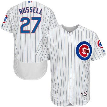 Men's Chicago Cubs Addison Russell Majestic Home White/Royal Flex Base Authentic Collection Player Jersey