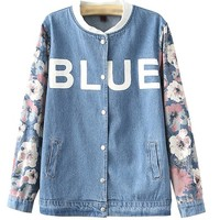 MapleClan Women Vintage Chic Floral Sleeves Stand Collar Loose Cardigan/Coat