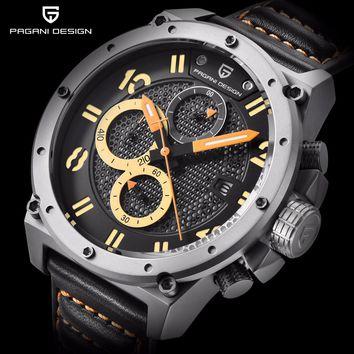 New PAGANI DESIGN Mens Watches Top Brand Luxury Skeleton Leather Sport Men Quartz Watch Waterproof Chronograph Wristwatch Clock