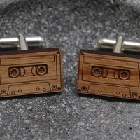 Wooden Cassette Cufflinks | The Gadget Flow