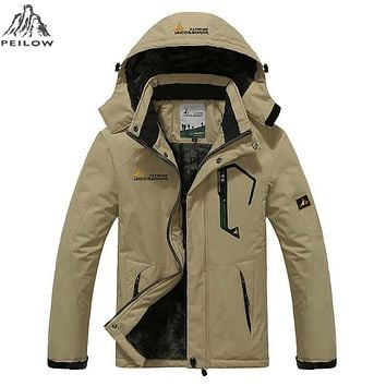 PEILOW Plus size 5XL,6XL outwear winter coat men and women`s thicken waterproof fleece warm cotton parka coat men jacket LB816