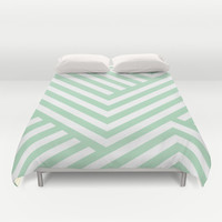 Mint Stripes Duvet Cover by Liv B