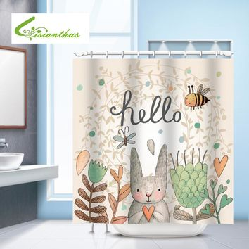Bathroom Shower Curtain Cartoon Rabbit Printed Waterproof Shower Curtain Bathroom Mildewproof Polyester Fabric With 12 Hooks