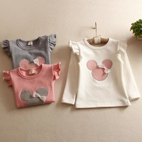 Children's T-Shirt spring Autumn 100% cotton Minnie mouse Cotton Kid's Render Shirt Baby Girls Clothing Soft Long Sleeve Tops