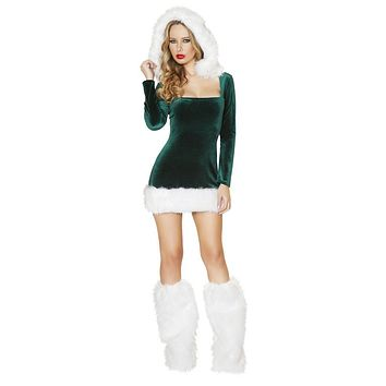 Adult Snowy Trees Long Sleeve Mini Dress With Faux Fur Trim