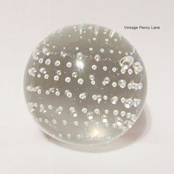 Vintage Glass Paperweight / Clear Bubble Paper Weight