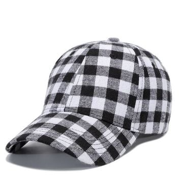 Trendy Winter Jacket Korean Red Black Plaid Baseball Cap Spring Summer Cotton Hats For Men Brand Snapback Peaked Cap Casquette 54-60CM AT_92_12