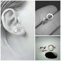 Sterling Silver Hugs and Kisses, Small Stud Earrings.  Cute, Modern, Playful and Fun Stud Earrings.