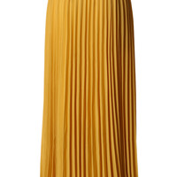 Chiffon Mustard Pleated Maxi Skirt Yellow