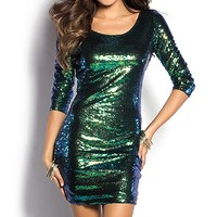 Kylie Emerald Green Short Sequin Party Dress with Sleeves