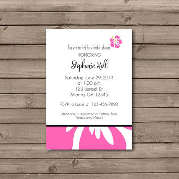 Peach, Hot Pink, or Purple Hawaiian Bridal Shower Invitations