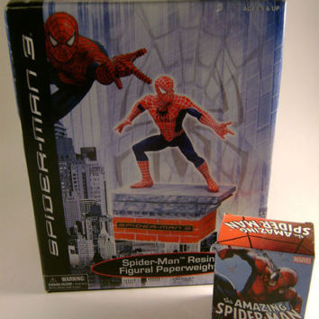 Marvel Spider-Man 3 Resin Paperweight Mega Mini Figurine Pin Book Lot