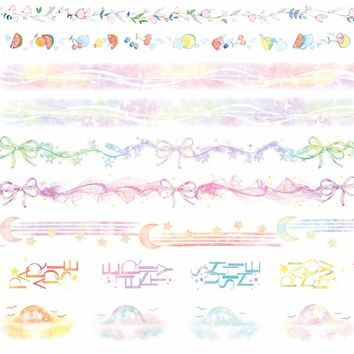 9 Designs Bow/Rainbow/Flowers/Moon/Lace/Fruits Cartoon Japanese Washi Decorative Adhesive DIY Masking Paper Tape StickerGift