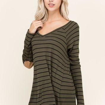 Olive and Black Striped Top with Elbow Patches