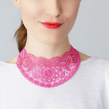 Pink Necklace Venise Lace Necklace Lace Jewelry Bib Necklace Statement Necklace Body Jewelry Lace Fashion Fashion Accessory / UDINE