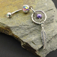 Purple Dream Catcher Belly Button Ring Jewelry by MidnightsMojo