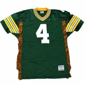 LMFON Vintage 1995 Authentic Starter Green Bay Packers #4 Brett Favre NFL Jersey Mens Size 4