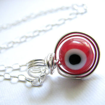 Evil Eye Jewelry - Wire Wrapped Evil Eye Pendant, Handmade Sterling Silver Necklace