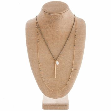 Long Layering Beaded Gold Necklace