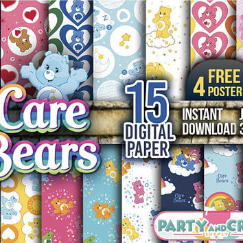 CARE BEARS Digital Paper Instant Download - Scrapbooking Care Bears Printable Paper Lion Hearth Scrapbooking 4 FREE Posters