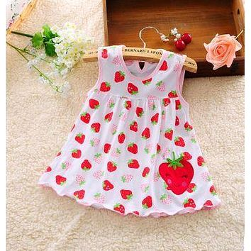 2017 other new baby cute girl wearing a sleeveless dress to wear casual clothing cotton 100% conventional micro Princess 0-24 mo