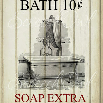 Wall sign bathroom typography vintage from screechowl for Vintage bathroom printables