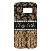 Leopard Spot Paw Prints Rhinestone PHOTO PRINT Barely There iPhone 6 Case