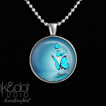 Blue Sparkly Butterflies Glass Pendant Necklace