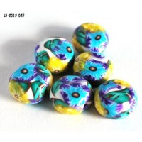 Yellow Flower Beads, Blue Flower Beads, Coin Beads, Beads, Handmade, Polymer, Jewelry Making Supplies, Bead Supplies - Blue Morning Expressions