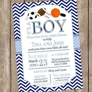 All Star Sports Baby Shower Invitation, allstar baby shower invitation, football, soccer, baseball, basketball, gray, navy, chevron, as1