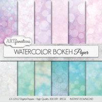 "Bokeh digital paper ""WATERCOLOR BOKEH"" pink bokeh, green bokeh, watercolors on digital paper for photographers, scrapbooking, invitations"