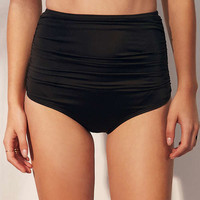 Out From Under Solid Ruched High-Waisted Bikini Bottom | Urban Outfitters