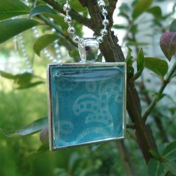 Blue Flowers : A pendant charm necklace made from a glass tile and a square pendant tray