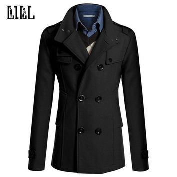 4XL Mens Casual Double Breasted Wool Coat Men Military Style Peacoat Male Cashmere Trench Overcoat Men's Winter Jacket,UMA396