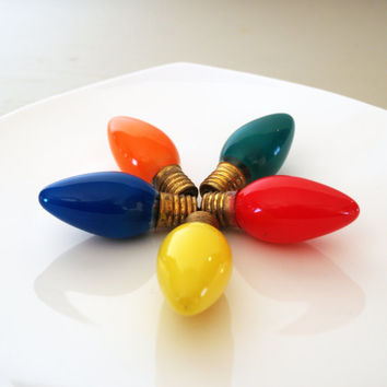 5 BRIGHT & COLORFUL VINTAGE Christmas Light Bulbs - Blue - Orange - Green - Red and Yellow - In Original Box