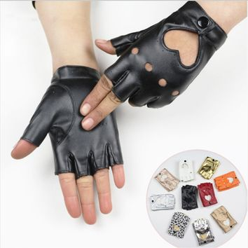 Women Guantes Ciclismo  Long Keeper Female Dance Gloves semi-finger Gloves Party Show leather Gloves fingerless Mittens for