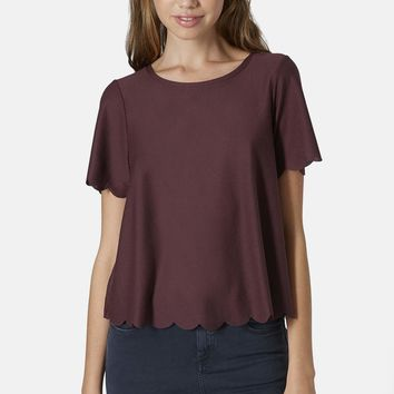 Topshop Scallop Frill Tee | Nordstrom
